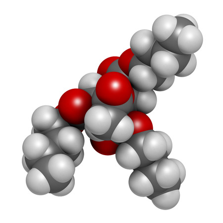 biodegradable: Acetyl tributyl citrate (ATBC) plasticizer molecule. 3D rendering.  Biodegradable alternative to phthalate plasticizers. Atoms are represented as spheres with conventional color coding: hydrogen (white), carbon (grey), oxygen (red).