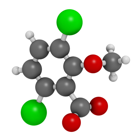 toxicity: Dicamba herbicide molecule. 3D rendering.  Used in weed control. Atoms are represented as spheres with conventional color coding: hydrogen (white), carbon (grey), oxygen (red), chlorine (green).