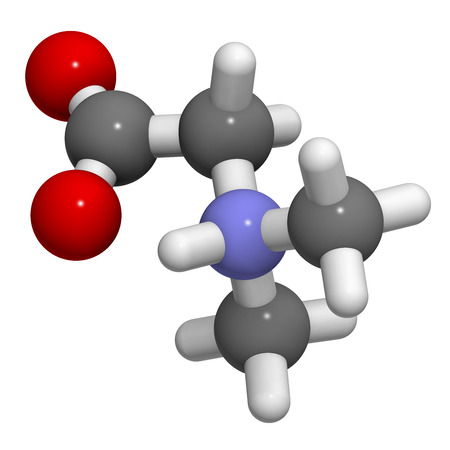 derivative: Dimethylglycine (DMG) molecule. 3D rendering.  Methylated derivative of glycine, used in performance enhancing nutritional supplements.  Atoms are represented as spheres with conventional color coding: hydrogen (white), carbon (grey), oxygen (red), nitrog
