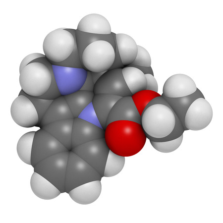 3d nitrogen: Vinpocetine molecule. 3D rendering.  Semisynthetic vinca alkaloid derivative, used as drug and as dietary supplement.  Atoms are represented as spheres with conventional color coding: hydrogen (white), carbon (grey), oxygen (red), nitrogen (blue). Stock Photo