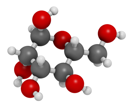 Mannose (D-mannose) sugar molecule. 3D rendering.  Epimer of glucose. Atoms are represented as spheres with conventional color coding: hydrogen (white), carbon (grey), oxygen (red). Stock Photo
