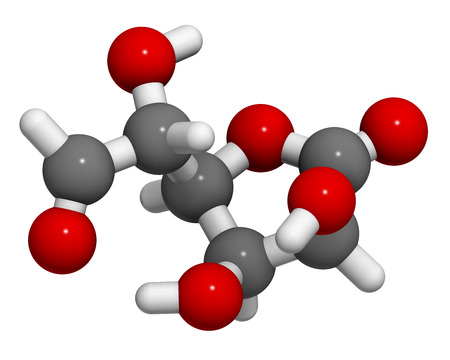 connective tissue: Glucuronolactone molecule. 3D rendering.  Used in food supplements and energy drinks. Atoms are represented as spheres with conventional color coding: hydrogen (white), carbon (grey), oxygen (red). Stock Photo