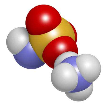 amoniaco: Ammonium sulfamate herbicide (weed killer) molecule. 3D rendering.  Atoms are represented as spheres with conventional color coding: hydrogen (white), oxygen (red), nitrogen (blue), sulfur (yellow).