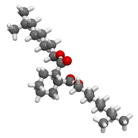ester: 1,2-Cyclohexane dicarboxylic acid diisononyl ester (DINCH) plasticizer molecule. 3D rendering.  Alternative to phthalates. Atoms are represented as spheres with conventional color coding: hydrogen (white), carbon (grey), oxygen (red).