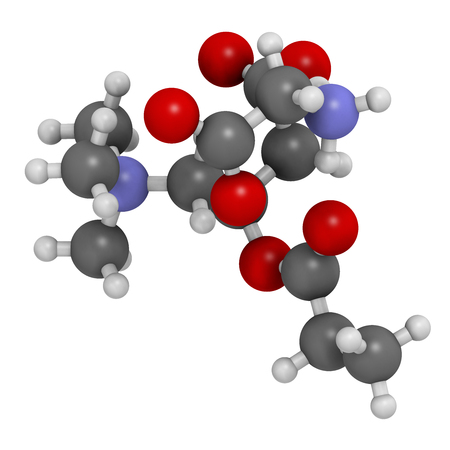glycine: GPLC (glycine propionyl-L-carnitine) nutritional supplement molecule. 3D rendering.    Atoms are represented as spheres with conventional color coding: hydrogen (white), carbon (grey), oxygen (red), nitrogen (blue). Stock Photo