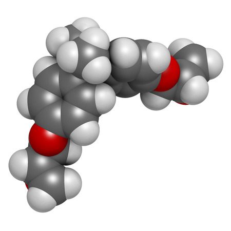 epoxy: Bisphenol A diglycidyl ether (BADGE, DGEBA) epoxy glue constituent molecule. 3D rendering.  Atoms are represented as spheres with conventional color coding: hydrogen (white), carbon (grey), oxygen (red).