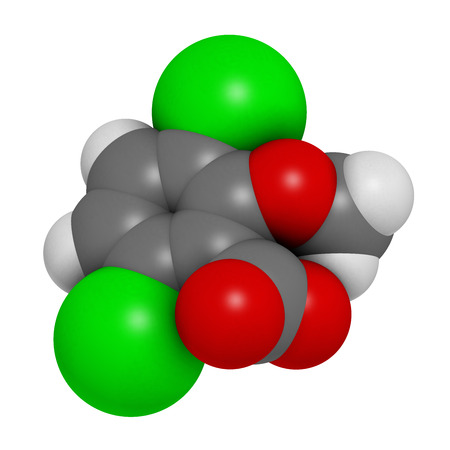 Dicamba herbicide molecule. 3D rendering.  Used in weed control. Atoms are represented as spheres with conventional color coding: hydrogen (white), carbon (grey), oxygen (red), chlorine (green).