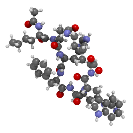 dysfunction: Bremelanotide female sexual dysfunction drug molecule (investigational).  Atoms are represented as spheres with conventional color coding: hydrogen (white), carbon (grey), oxygen (red), nitrogen (blue).