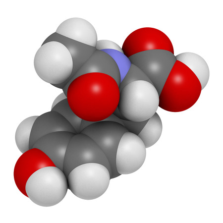 N-acetyl-tyrosine (NALT) molecule. 3D rendering.  Acetylated form of the amino acid tyrosine.  Atoms are represented as spheres with conventional color coding: hydrogen (white), carbon (grey), oxygen (red), nitrogen (blue).