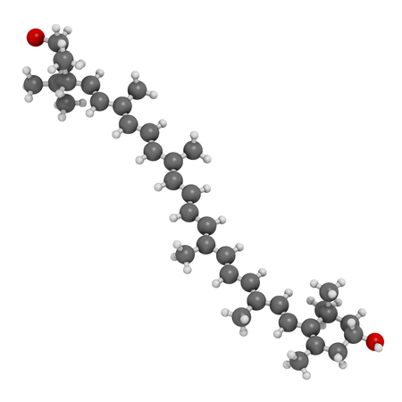 Lutein carotenoid molecule. 3D rendering.  Nutrient present in green leafy vegetables such as spinach and kale. Atoms are represented as spheres with conventional color coding: hydrogen (white), carbon (grey), oxygen (red). Stock Photo