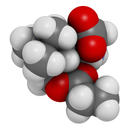 3d nitrogen: GPLC (glycine propionyl-L-carnitine) nutritional supplement molecule. 3D rendering.    Atoms are represented as spheres with conventional color coding: hydrogen (white), carbon (grey), oxygen (red), nitrogen (blue). Stock Photo