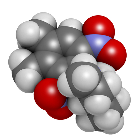 herbicide: Pendimethalin herbicide molecule. 3D rendering.   Atoms are represented as spheres with conventional color coding: hydrogen (white), carbon (grey), oxygen (red), nitrogen (blue). Stock Photo