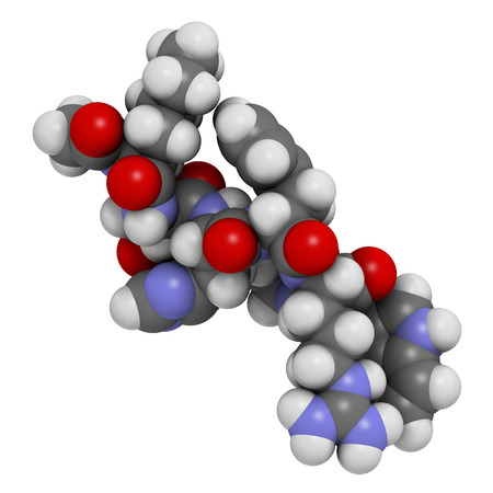 arousal: Bremelanotide female sexual dysfunction drug molecule (investigational).  Atoms are represented as spheres with conventional color coding: hydrogen (white), carbon (grey), oxygen (red), nitrogen (blue).
