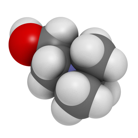 lecithin: Choline essential nutrient molecule. 3D rendering.   Atoms are represented as spheres with conventional color coding: hydrogen (white), carbon (grey), oxygen (red), nitrogen (blue).