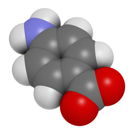 benzoic: 4-aminobenzoic acid (PABA, aminobenzoate) molecule. 3D rendering.    Atoms are represented as spheres with conventional color coding: hydrogen (white), carbon (grey), oxygen (red), nitrogen (blue). Stock Photo