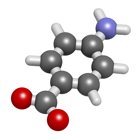 paba: 4-aminobenzoic acid (PABA, aminobenzoate) molecule. 3D rendering.    Atoms are represented as spheres with conventional color coding: hydrogen (white), carbon (grey), oxygen (red), nitrogen (blue). Stock Photo