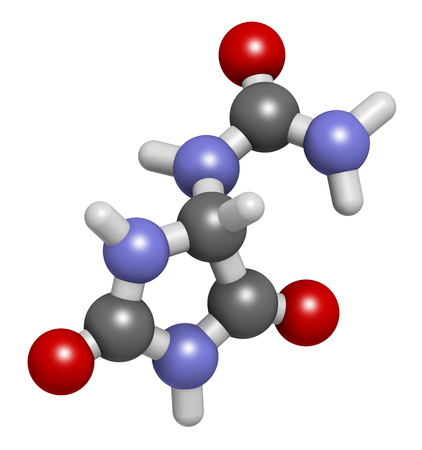hydrogen: Allantoin molecule. 3D rendering.  Often used in cosmetics.  Atoms are represented as spheres with conventional color coding: hydrogen (white), carbon (grey), oxygen (red), nitrogen (blue). Stock Photo