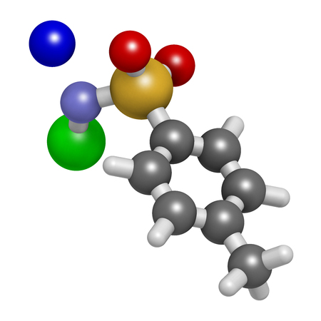 3d nitrogen: Chloramine-T (tosylchloramide) disinfectant molecule. 3D rendering.  Atoms are represented as spheres with conventional color coding: hydrogen (white), carbon (grey), oxygen (red), nitrogen (blue), chlorine (green), sodium (blue).
