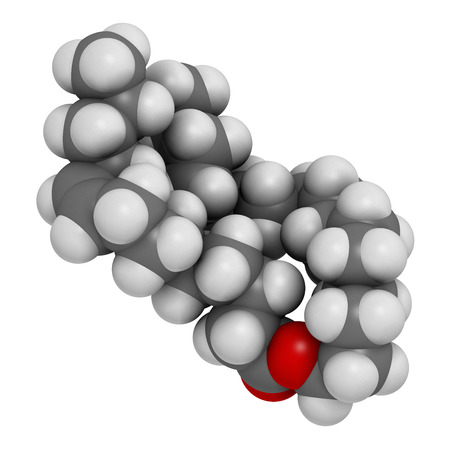 fibromyalgia: Cetyl myristoleate food supplement molecule. 3D rendering.  Cetylated fatty acid that may have anti-inflammatory properties. Atoms are represented as spheres with conventional color coding: hydrogen (white), carbon (grey), oxygen (red).