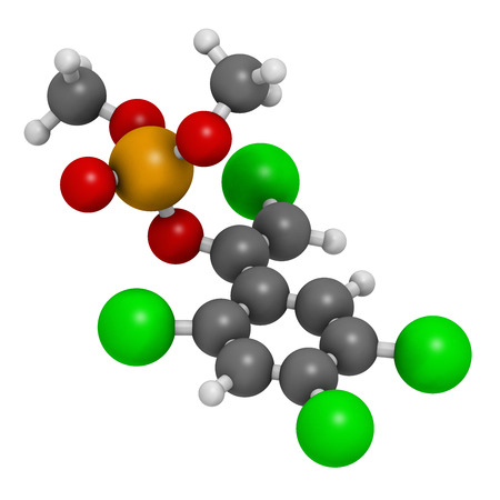 white phosphorus: Tetrachlorvinphos organophosphate insecticide molecule. 3D rendering.  Atoms are represented as spheres with conventional color coding: hydrogen (white), carbon (grey), oxygen (red), chlorine (green), phosphorus (orange). Stock Photo