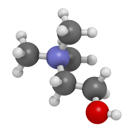 neurotransmitter: Choline essential nutrient molecule. 3D rendering.   Atoms are represented as spheres with conventional color coding: hydrogen (white), carbon (grey), oxygen (red), nitrogen (blue).
