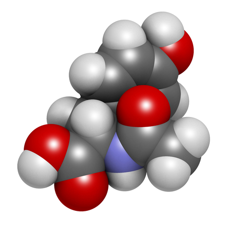 tyr: N-acetyl-tyrosine (NALT) molecule. 3D rendering.  Acetylated form of the amino acid tyrosine.  Atoms are represented as spheres with conventional color coding: hydrogen (white), carbon (grey), oxygen (red), nitrogen (blue).