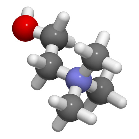 nitrogen: Choline essential nutrient molecule. 3D rendering.   Atoms are represented as spheres with conventional color coding: hydrogen (white), carbon (grey), oxygen (red), nitrogen (blue).