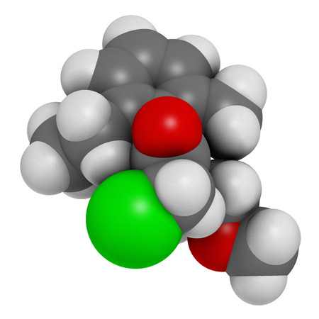 herbicide: Metolachlor herbicide (weed killer) molecule. 3D rendering.  Atoms are represented as spheres with conventional color coding: hydrogen (white), carbon (grey), oxygen (red), nitrogen (blue), chlorine (green).