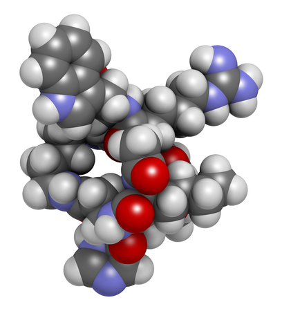 melanin: Melanotan II synthetic tanning drug molecule. 3D rendering.  Not approved as drug.  Atoms are represented as spheres with conventional color coding: hydrogen (white), carbon (grey), oxygen (red), nitrogen (blue). Stock Photo
