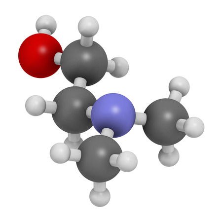 amine: Dimethylaminoethanol (dimethylethanolamine, DMEA, DMAE) molecule. 3D rendering.  May have beneficial effects on health, including lifespan increase.  Atoms are represented as spheres with conventional color coding: hydrogen (white), carbon (grey), oxygen