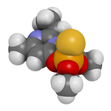 acetylcholine: Diazinon (dimpylate) organophosphate insecticide molecule. 3D rendering. Stock Photo