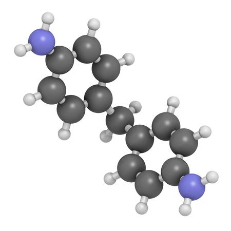 4, 4'-methylenedianiline (methylenedianiline、MDA) 分子。3 D レンダリング。 発癌物質は、非常に高い懸念のある物質のリストを疑われます。ポリウ