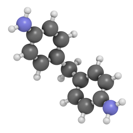 suspected: 4,4-methylenedianiline (methylenedianiline, MDA) molecule. 3D rendering.  Suspected carcinogen, on the list of substances of very high concern. Used in polyurethane production. Atoms are represented as spheres with conventional color coding: hydrogen (wh