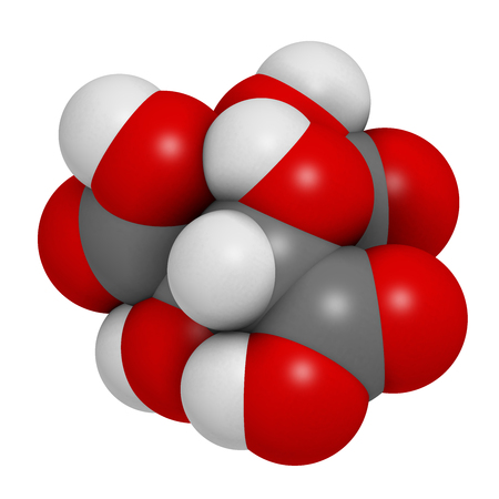 hydrogen: Hydroxycitric acid  (HCA, hydroxycitrate) molecule. 3D rendering.  Used as weight loss nutritional supplement.  Atoms are represented as spheres with conventional color coding: hydrogen (white), carbon (grey), oxygen (red).