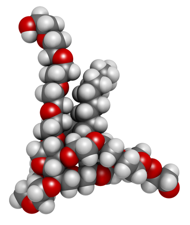 crohn: Polysorbate 80 surfactant and emulsifier molecule. 3D rendering.  Used in food (E433), cosmetics and medicines. Atoms are represented as spheres with conventional color coding: hydrogen (white), carbon (grey), oxygen (red).