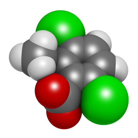 benzoic: Dicamba herbicide molecule. 3D rendering.  Used in weed control. Atoms are represented as spheres with conventional color coding: hydrogen (white), carbon (grey), oxygen (red), chlorine (green).