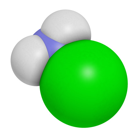 amine: Chloramine (monochloramine) disinfectant molecule. 3D rendering.  Readily decomposes, resulting in hypochlorous acid formation. Atoms are represented as spheres with conventional color coding: hydrogen (white), nitrogen (blue), chlorine (green).