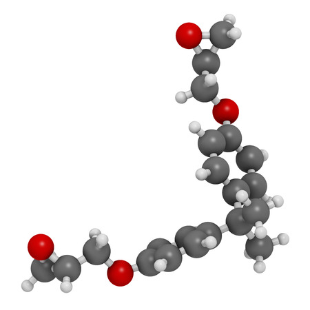 Bisphenol A diglycidyl ether (BADGE, DGEBA) epoxy glue constituent molecule. 3D rendering.  Atoms are represented as spheres with conventional color coding: hydrogen (white), carbon (grey), oxygen (red).