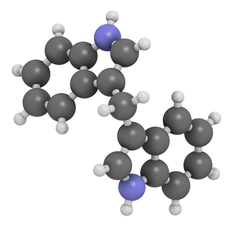 preventive: Diindolylmethane (3,3-DIM, DIM) molecule. 3D rendering.  Derivative of indole-3-carbinol, found in broccoli, cabbage, kale, etc. May have cancer preventive or anticancer effects. Atoms are represented as spheres with conventional color coding: hydrogen ( Stock Photo