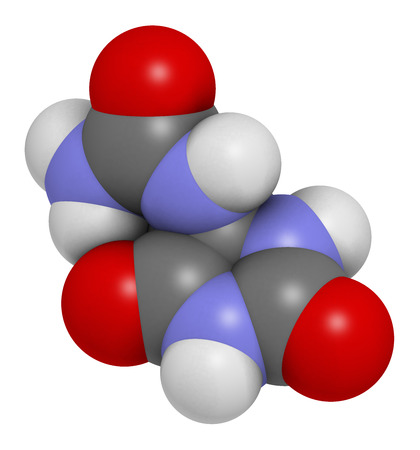 3d nitrogen: Allantoin molecule. 3D rendering.  Often used in cosmetics.  Atoms are represented as spheres with conventional color coding: hydrogen (white), carbon (grey), oxygen (red), nitrogen (blue). Stock Photo