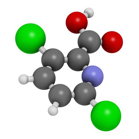 herbicide: Clopyralid herbicide molecule. 3D rendering.