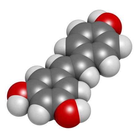 lifespan: Resveratrol molecule. 3D rendering.  Present in many plants, including grapes and raspberries. Believed to have a number of positive health effects. Atoms are represented as spheres with conventional color coding: hydrogen (white), carbon (grey), oxygen ( Stock Photo