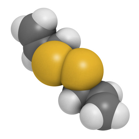 flavoring: Diallyl disulfide garlic molecule. 3D rendering.  One of the compounds responsible for taste, smell and health effects of garlic. Atoms are represented as spheres with conventional color coding: hydrogen (white), carbon (grey), sulfur (yellow).