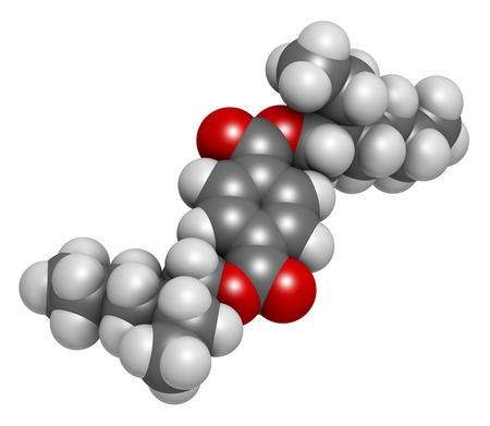 hydrogen: Dioctyl terephthalate (DOTP, DEHT) plasticizer molecule. 3D rendering.  Phthalate alternative, used in PVC plastics. Atoms are represented as spheres with conventional color coding: hydrogen (white), carbon (grey), oxygen (red).