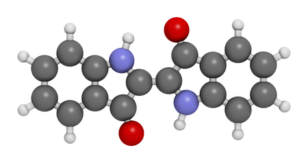 dye: Indigotin indigo dye molecule. 3D rendering.  Used to color cotton in the production of denim cloth for blue jeans.  Atoms are represented as spheres with conventional color coding: hydrogen (white), carbon (grey), oxygen (red), nitrogen (blue). Stock Photo