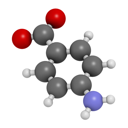 irritable bowel syndrome: 4-aminobenzoic acid (PABA, aminobenzoate) molecule. 3D rendering.    Atoms are represented as spheres with conventional color coding: hydrogen (white), carbon (grey), oxygen (red), nitrogen (blue). Stock Photo