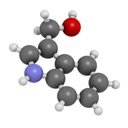 cruciferous: Indole-3-carbinole (I3C) cruciferous vegetable molecule. 3D rendering.  Present in food prepared with broccoli, cabbage, kale, etc. May have beneficial health effects.   Atoms are represented as spheres with conventional color coding: hydrogen (white), ca Stock Photo