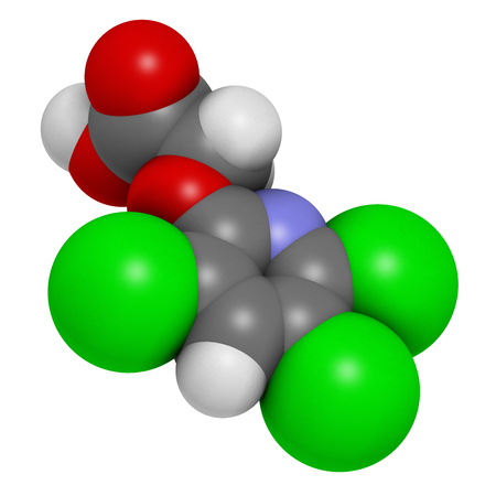 broadleaf: Triclopyr herbicide (broadleaf weed killer) molecule. 3D rendering.  Atoms are represented as spheres with conventional color coding: hydrogen (white), carbon (grey), oxygen (red), nitrogen (blue), chlorine (green). Stock Photo