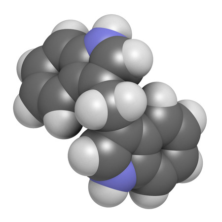 derivative: Diindolylmethane (3,3-DIM, DIM) molecule. 3D rendering.  Derivative of indole-3-carbinol, found in broccoli, cabbage, kale, etc. May have cancer preventive or anticancer effects. Atoms are represented as spheres with conventional color coding: hydrogen ( Stock Photo