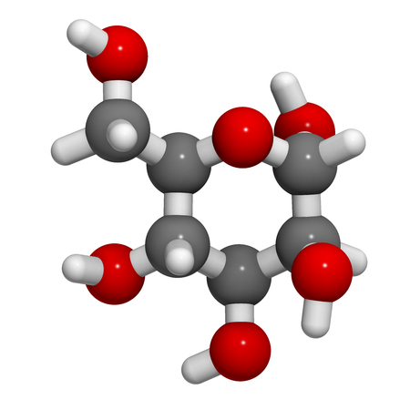 glucose: Mannose (D-mannose) sugar molecule. 3D rendering.  Epimer of glucose. Atoms are represented as spheres with conventional color coding: hydrogen (white), carbon (grey), oxygen (red). Stock Photo